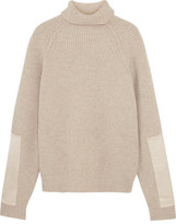 Victoria Beckham Satin-paneled Ribbed Wool Turtleneck Sweater - Ecru