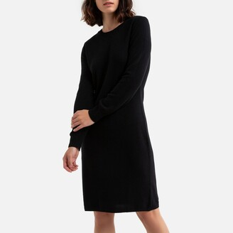 Benetton Wool Mix Mini Dress with Long Sleeves and Crew-Neck