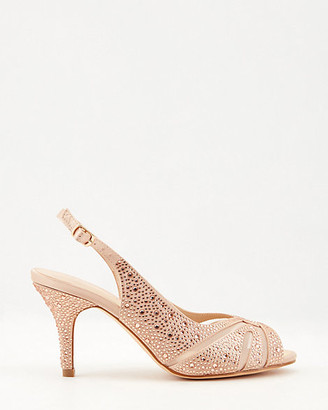 Le Château Jewel Embellished Satin Peep-Toe Pump