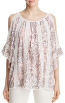 T Tahari Cambria Lace Trim Floral Cold-Shoulder Top