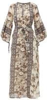 D'Ascoli Vista Floral-print Cotton Maxi Dress - Womens - Grey Print