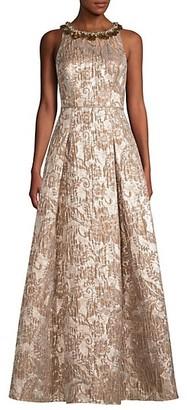 Aidan Mattox Embellished Jacquard Metallic Ball Gown