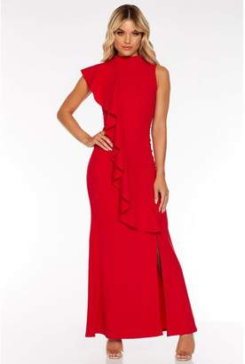 Quiz Red Frill Split Maxi Dress