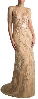 Basix II Sleeveless Feather Embellished Column Gown