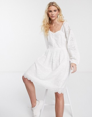 Notes du Nord omia broderie floral mini dress in white