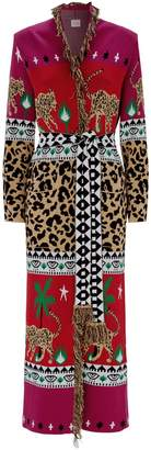 Hayley Menzies Knitted Cotton Longline Leopard Cardigan