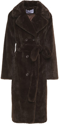 Stand Studio Faustine Belted Faux Fur Coat