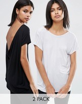 Asos T-Shirt With Scoop Back 2 Pack