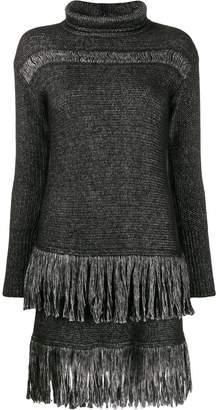 Blumarine fringed sweater dress
