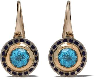 Alice Cicolini 14kt and 22kt gold and silver Tile mini hook earrings