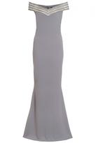 Quiz Grey Diamante Bardot Fishtail Maxi Dress