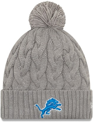 New Era Women's Gray Detroit Lions Swift Cable Cuffed Knit Hat with Pom