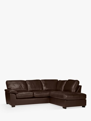 John Lewis & Partners Camden 5+ Seater RHF Chaise Corner End Leather Sofa, Dark Leg