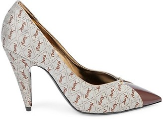 Saint Laurent Lola Cap-Toe Monogram Pumps
