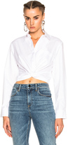 Alexander Wang Cotton Twill Twist Front Long Sleeve Shirt in White.