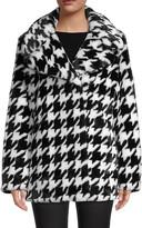 Avec Les Filles Houndstooth-Print Wide Peak Lapel Faux Fur Coat