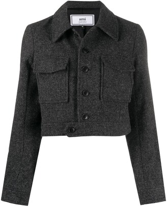 Ami Single-Breasted Cropped Jacket