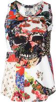 Alexander McQueen floral skull print tank top - women - Cotton - 40