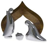 Nambe Holy Family 4-Piece Nativity with Wood Creche