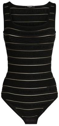 Balmain Bodycon Logo Stripe Bodysuit