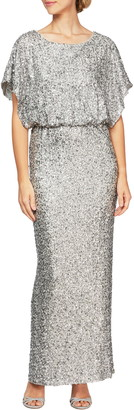 Alex Evenings Sequin Dolman Sleeve Gown
