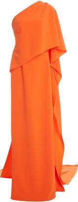 Carolina Herrera One-Shoulder Draped Cape Crepe Gown