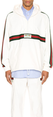 Gucci Cotton Canvas Windbreaker With Label in White & Multi | FWRD