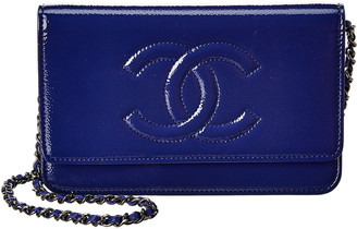 Chanel Blue Patent Leather Timeless Cc Single Flap Wallet On Chain