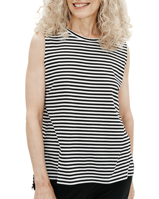 Eileen Fisher Plus Size Striped High-Low Boxy Organic Cotton Tank