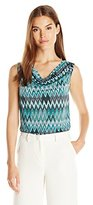 Tahari by Arthur S. Levine Women's Missy Printed Cowl Ity Top