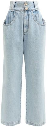 Alessandra Rich High Waist Cotton Denim Wide Leg Jeans
