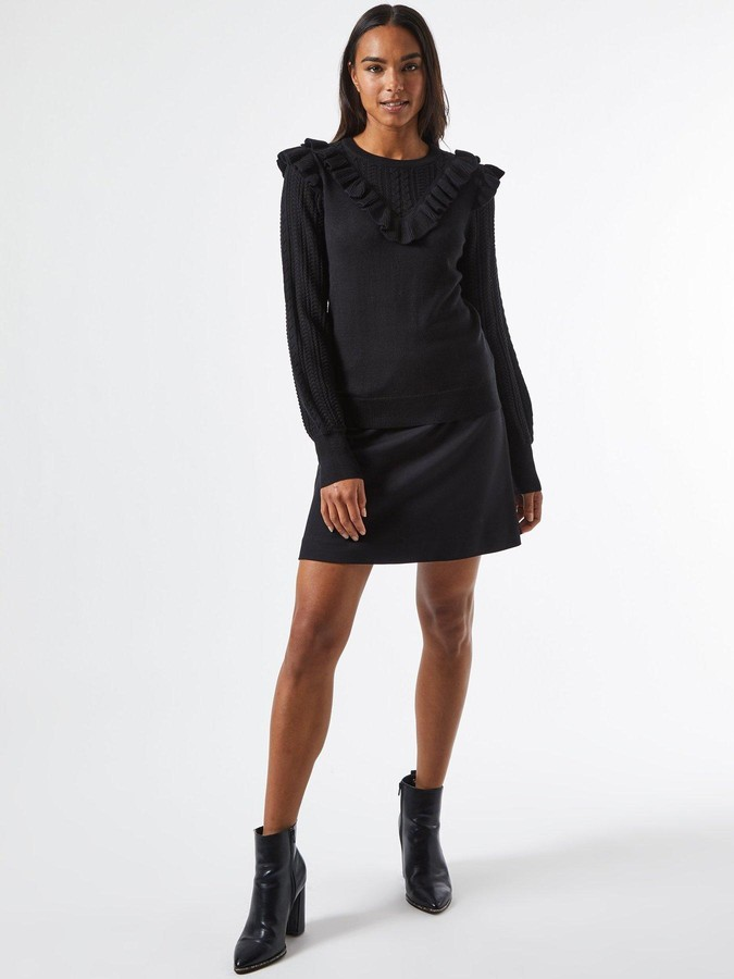 Thumbnail for your product : Dorothy Perkins V Neck Ruffle Jumper- Black