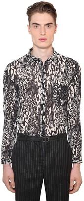 Saint Laurent Leopard Print Cotton & Silk Shirt