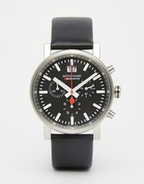 Mondaine Evo Chronograph Leather Watch In Black 40mm