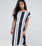Mama Licious Mama.licious Mamalicious Striped Shift Dress With Drawstring Detail