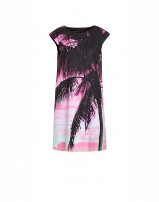 Boutique Moschino Beach Palms Cady Dress Woman Black Size 38 It - (4 Us)