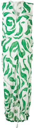 Off-White Leaf Print Sleeveless Dress