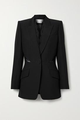 Alexander McQueen Lace-paneled Crepe Blazer - Black