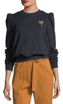 A.L.C. Prescott Crewneck Sweatshirt with Mini Palm Embroidery