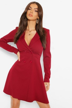 boohoo Button Detail Full Skirt Blazer Dress