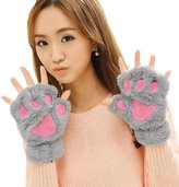 Aniwon Fingerless Gloves Cat Claw Bear Paw Style Winter Plush Furry Mitten for Women