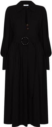 NACKIYÉ Belted Virgin Wool Midi Dress
