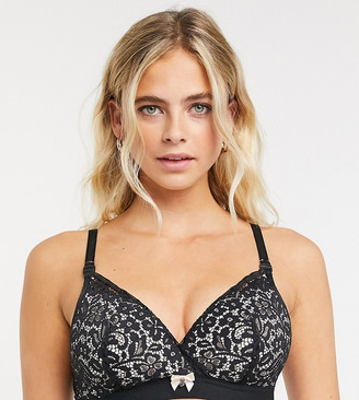 Hunkemoller Maternity Rose recycled lace nursing bra in black