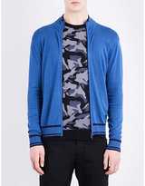 Armani Jeans Contrast-trim Stretch-ribbed Cardigan
