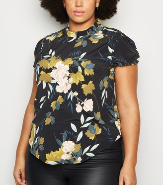 New Look Curves Floral High Neck Top