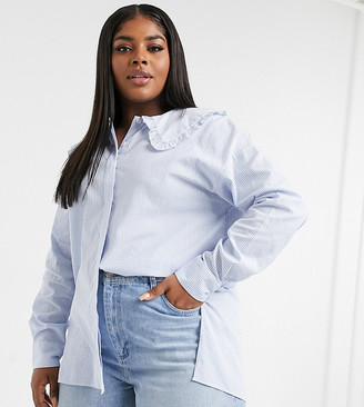Glamorous Curve relaxed shirt in blue pinstripe with peter pan frill collar
