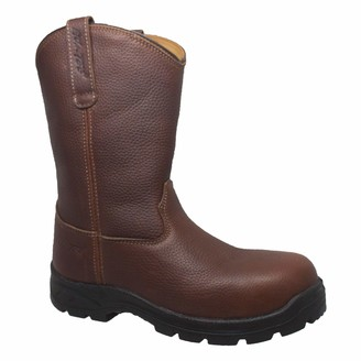 """AdTec 6"""" Australian Leather Work Boot & Construction Shoe Oil Slip & Acid Resistant Outsole Orthotic PU Insole with Side Zipper"""