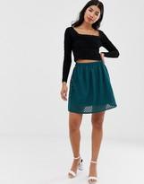 Asos Design DESIGN geo lace mini skirt with bask waist