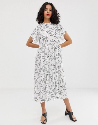 Asos DESIGN open back midi smock dress in squiggle print