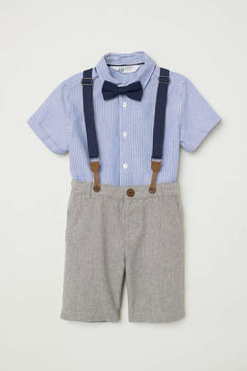 H&M Shirt with Bow Tie and Shorts - Blue/white striped - Kids